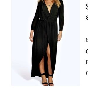 NWT Boohoo Plus slinky wrap front maxi dress...